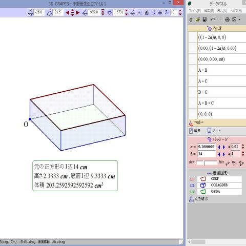 正方形の紙でできる箱の体積
